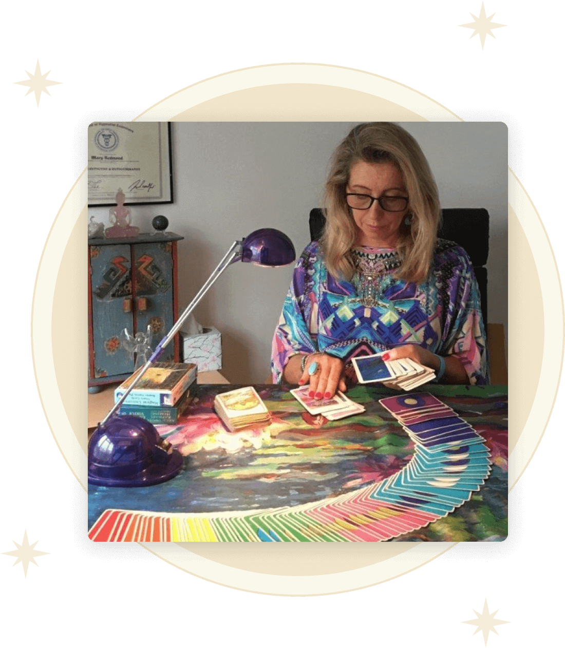 Mary Redmond working with tarot cards